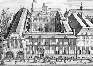 17th-century etching of the Oost-Indisch Huis. Source: bma.amsterdam.nl